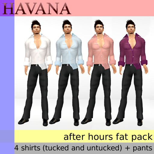 Havana After Hours Fat Pack (black pants + 4 shirts)
