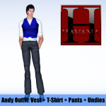 Andy Outfit: blue vest, white t-shirt, grey pants and undies showing