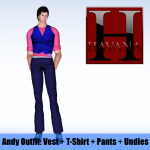 Andy Outfit: blue vest, pink t-shirt, navy pants and undies showing