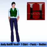 Andy Outfit: green vest, blue t-shirt, navy pants and undies showing