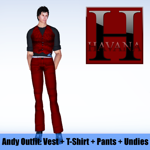 Andy Outfit: red vest, black t-shirt, red pants and undies showing