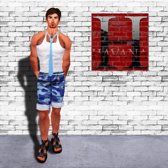"Camo Boy Shorts in its ""sky camo"" version, Seaside Tank and Loose Flexi Tie: new at HAVANA"
